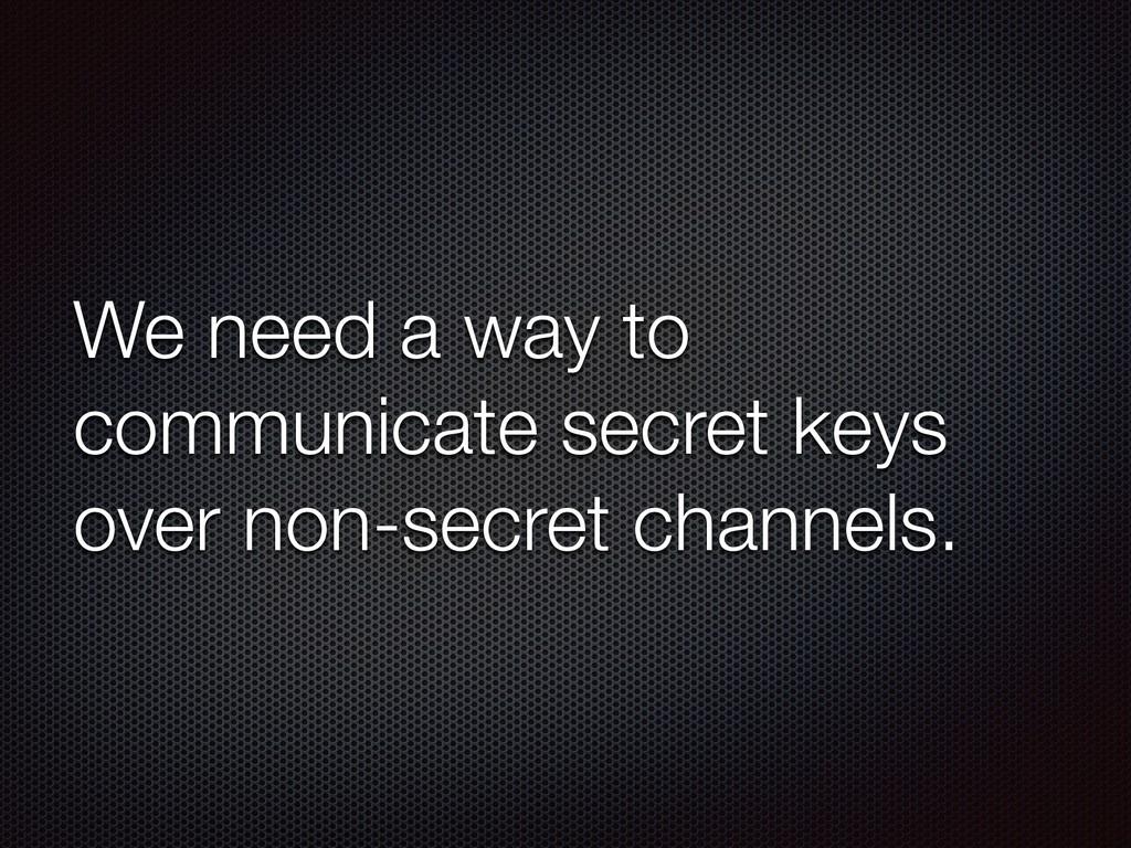 We need a way to communicate secret keys over n...