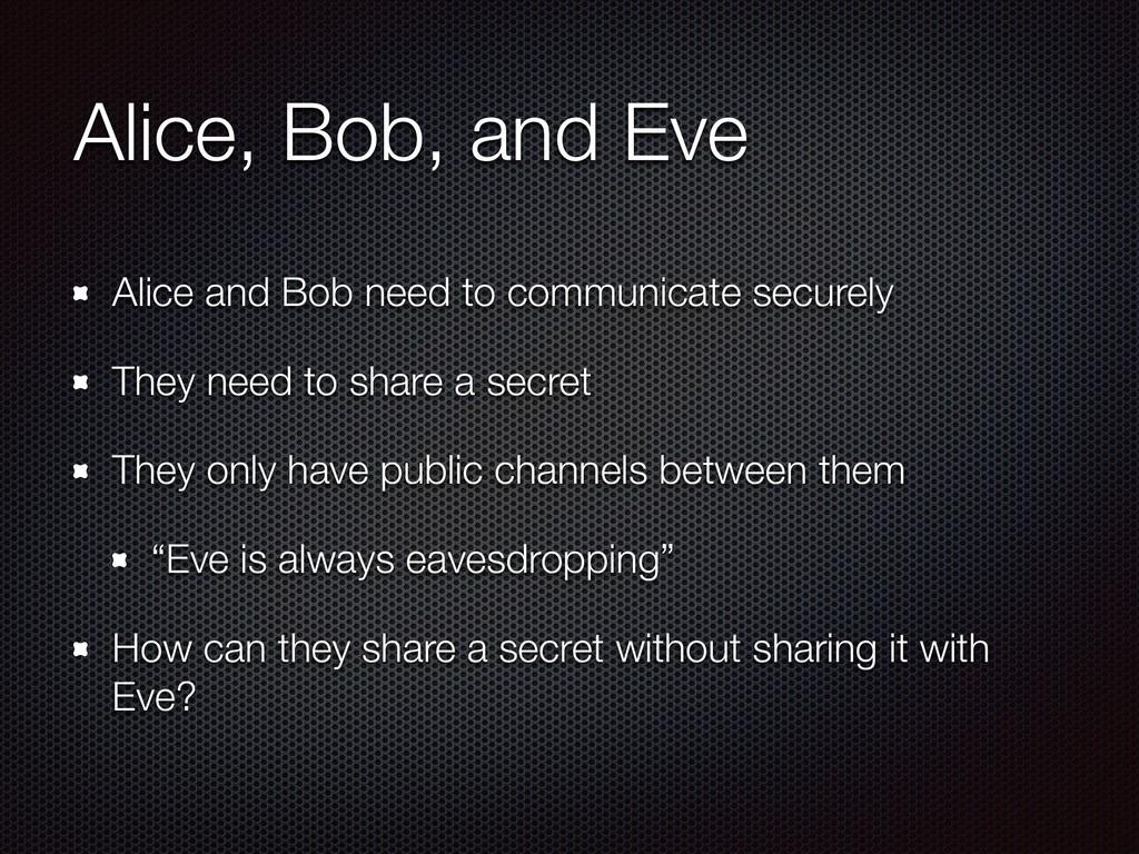 Alice, Bob, and Eve Alice and Bob need to commu...