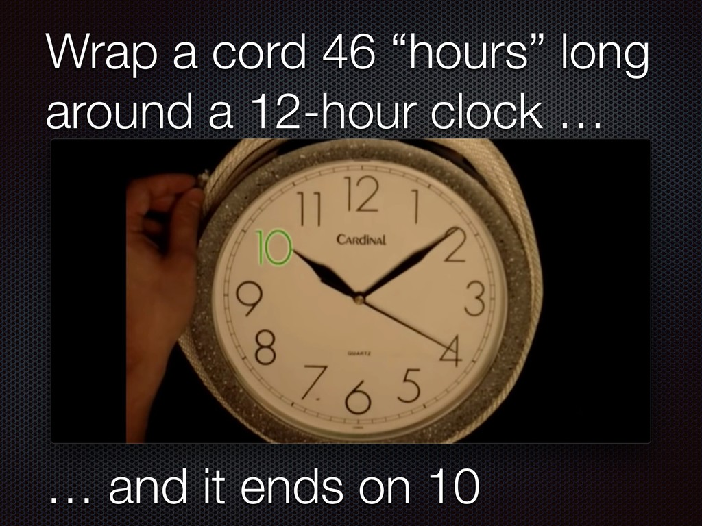 """Wrap a cord 46 """"hours"""" long around a 12-hour cl..."""