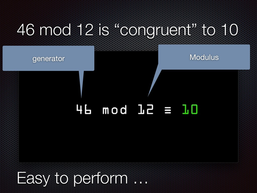 """Easy to perform … 46 mod 12 is """"congruent"""" to 1..."""