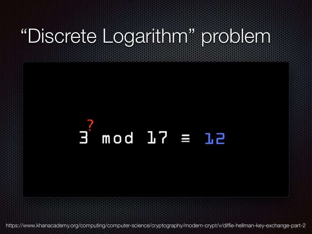 """""""Discrete Logarithm"""" problem https://www.khanac..."""
