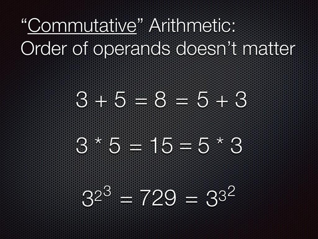 """Commutative"" Arithmetic: Order of operands do..."