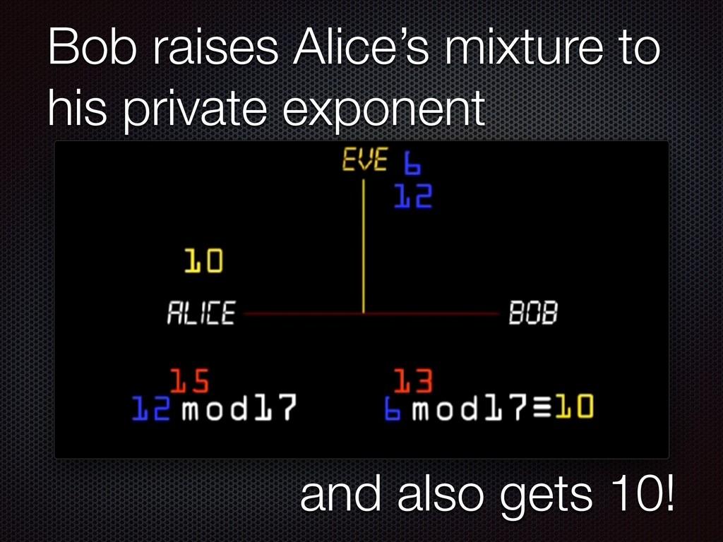 Bob raises Alice's mixture to his private expon...