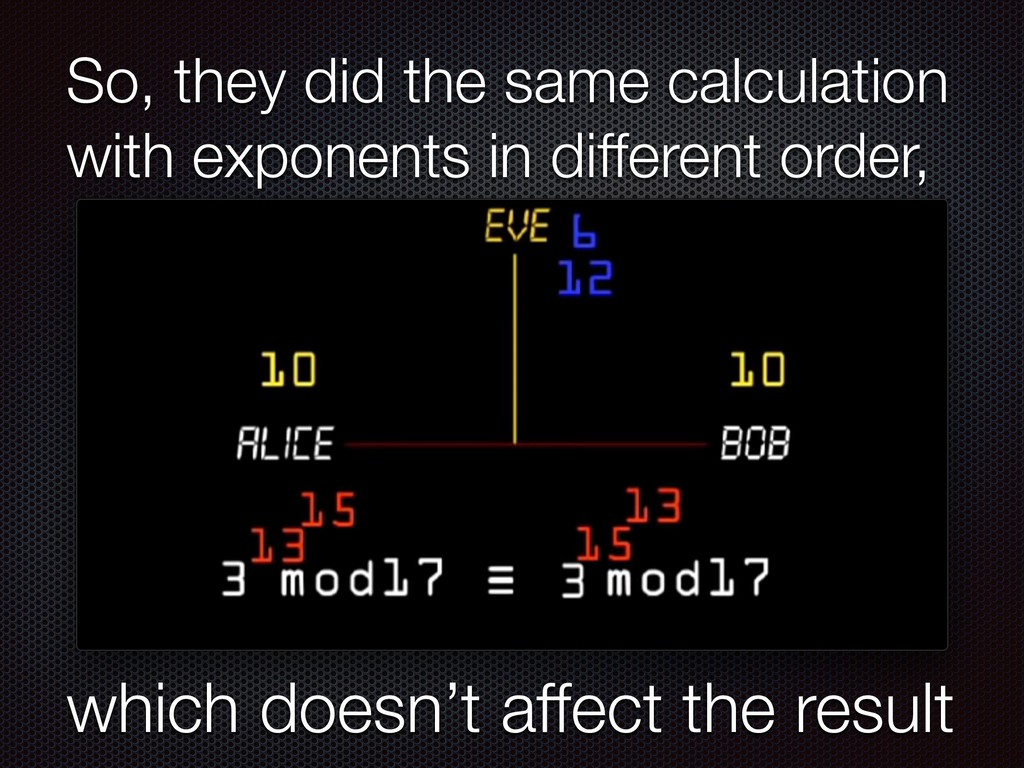 So, they did the same calculation with exponent...