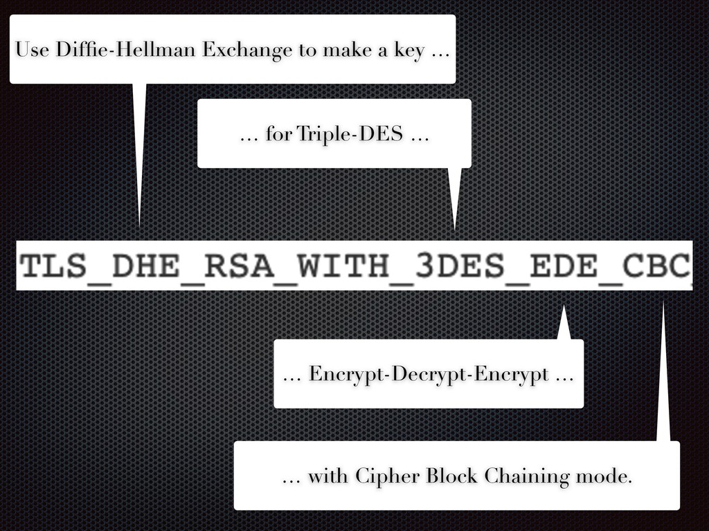 Use Diffie-Hellman Exchange to make a key … … fo...