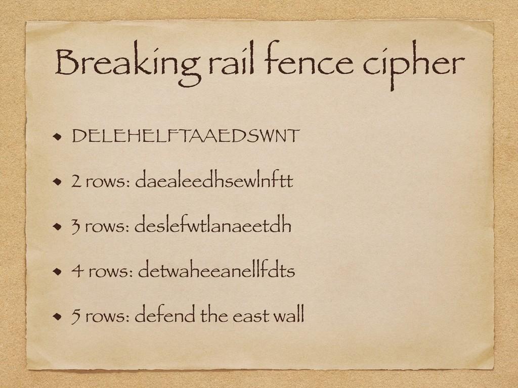 Breaking rail fence cipher DELEHELFTAAEDSWNT 2 ...