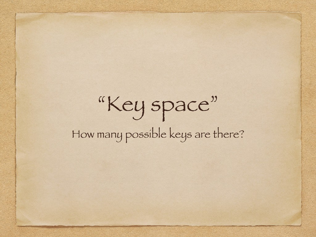 """""""Key space"""" How many possible keys are there?"""