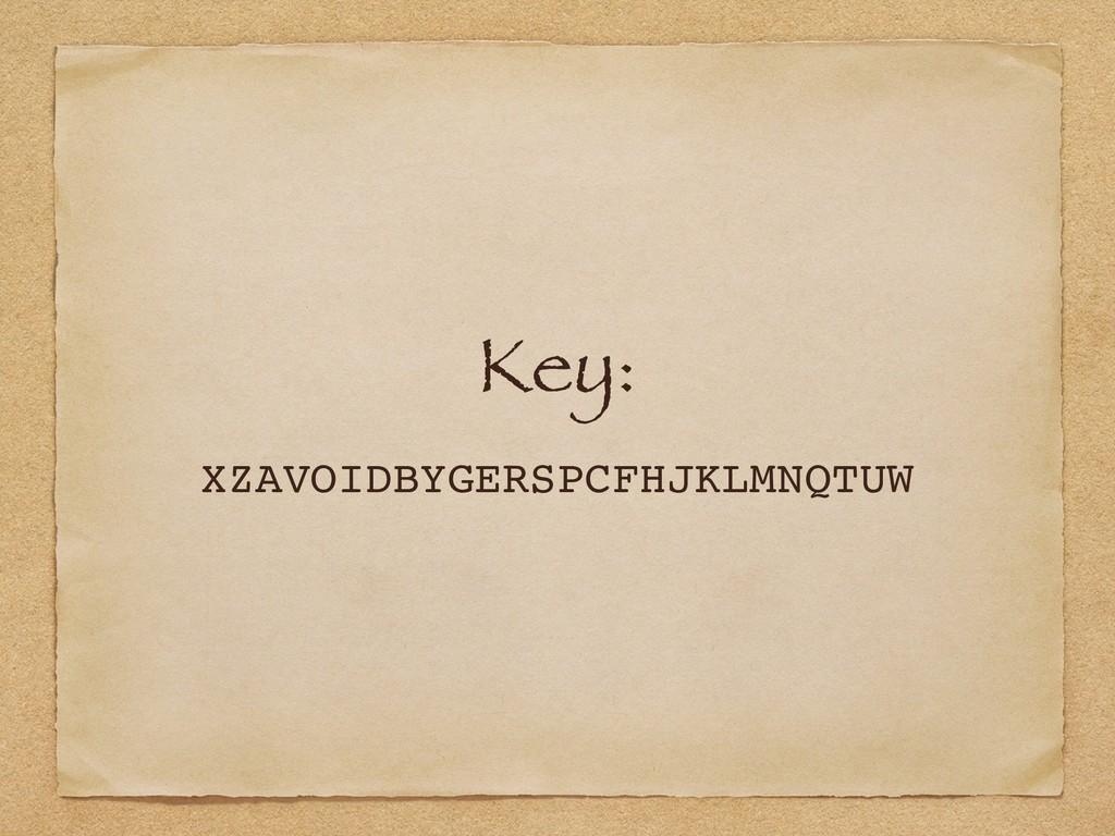 Key: XZAVOIDBYGERSPCFHJKLMNQTUW