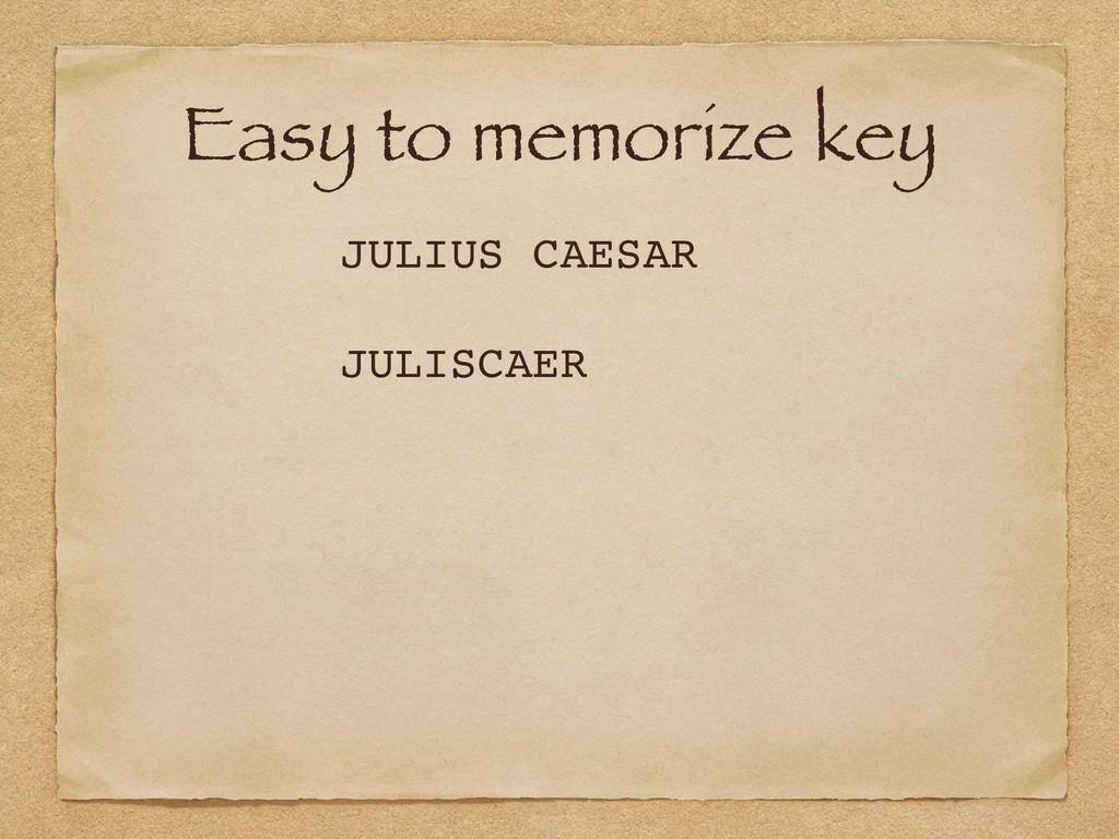 Easy to memorize key JULIUS CAESAR JULISCAER