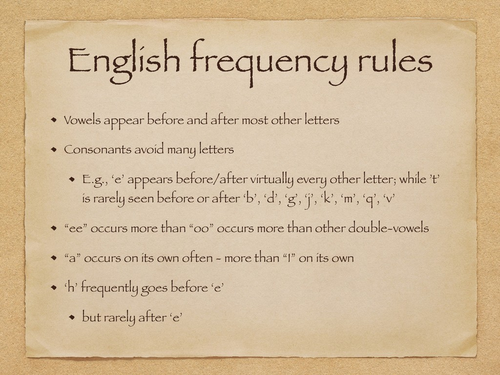 English frequency rules Vowels appear before an...