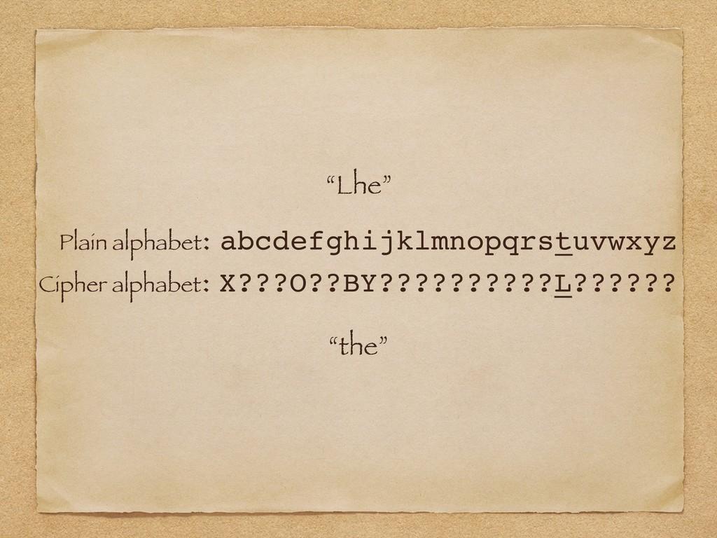 """""""Lhe"""" Plain alphabet: abcdefghijklmnopqrstuvwxy..."""