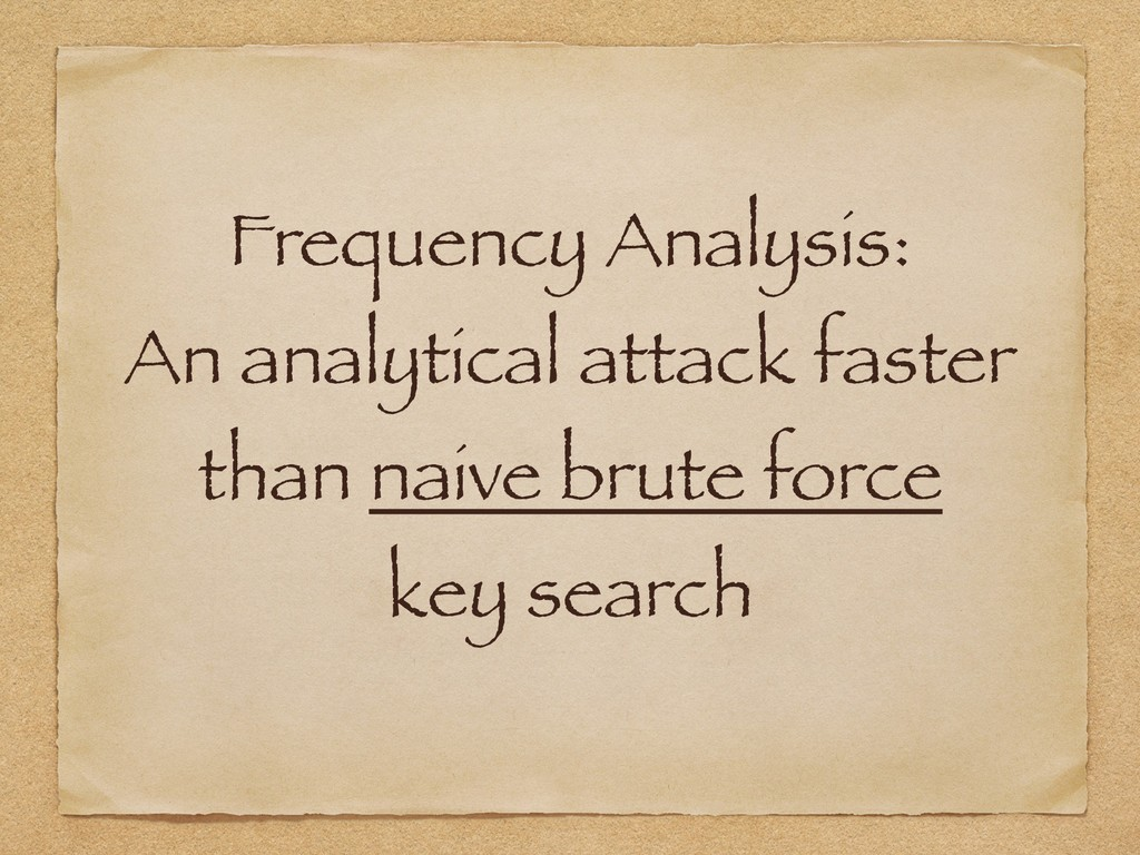 Frequency Analysis: An analytical attack faster...