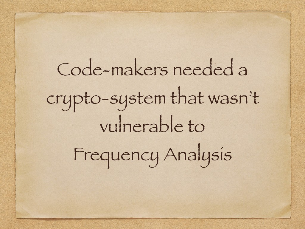 Code-makers needed a crypto-system that wasn't...