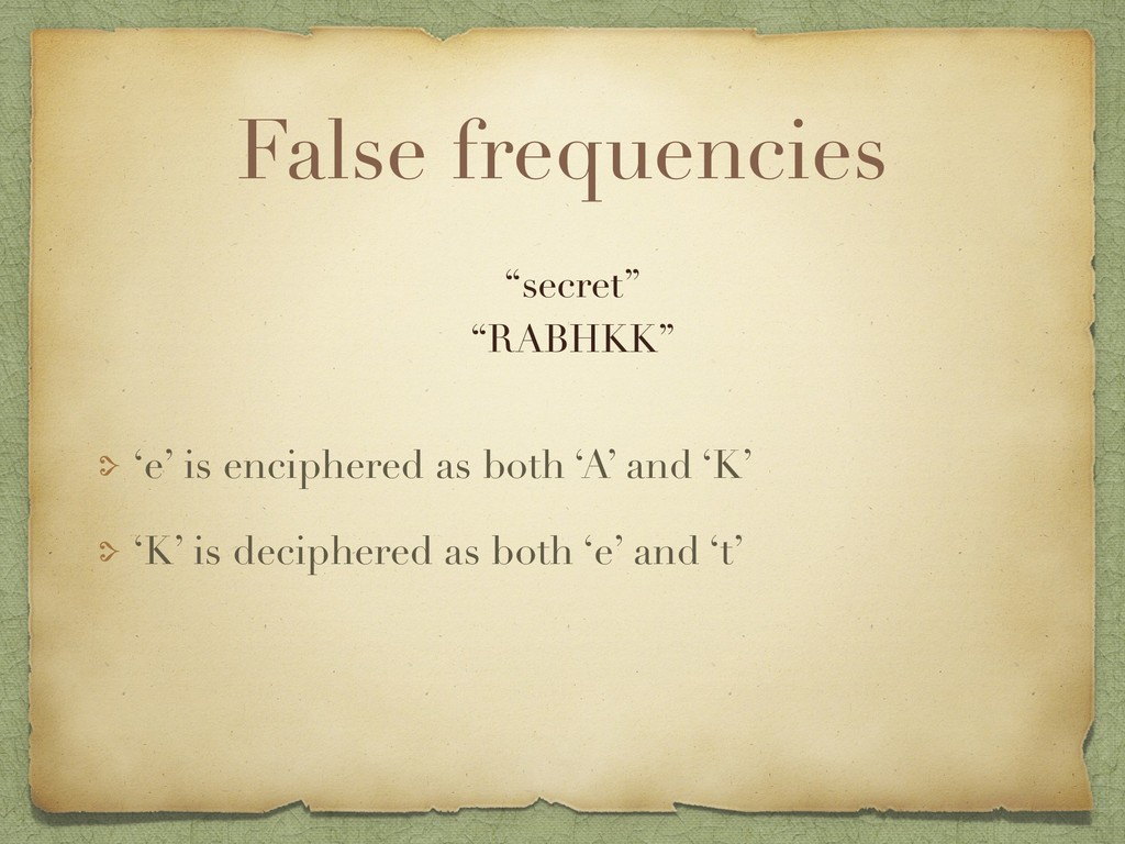 False frequencies 'e' is enciphered as both 'A'...