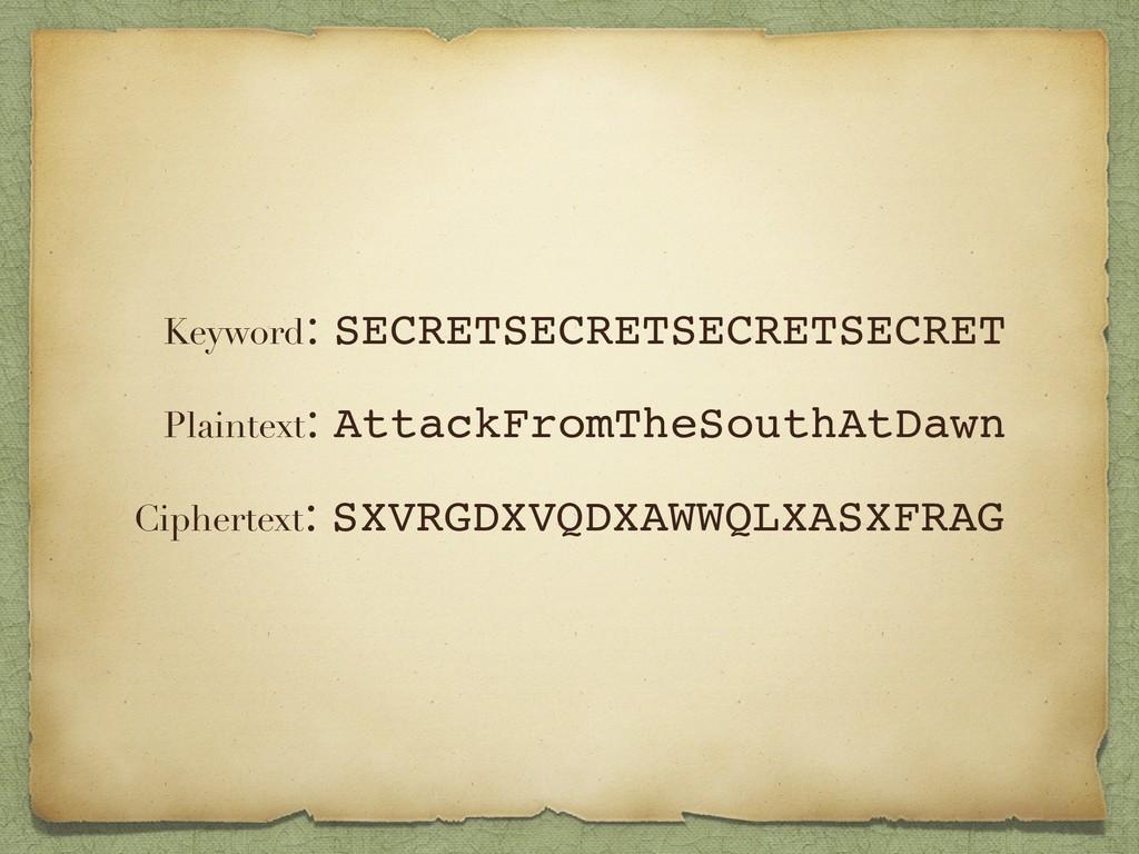 Plaintext: AttackFromTheSouthAtDawn Ciphertext:...