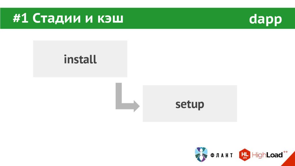 install setup #1 Стадии и кэш dapp