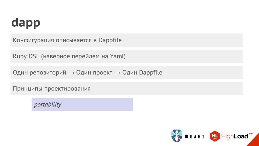 Ruby DSL (наверное перейдем на Yaml) dapp Конфи...