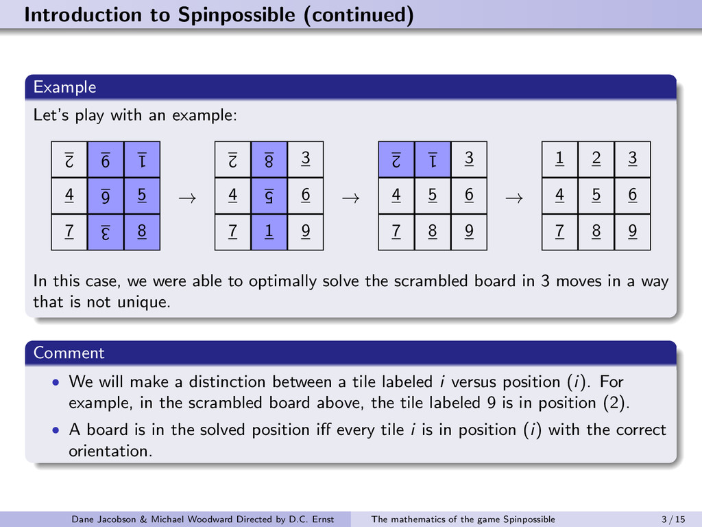 Introduction to Spinpossible (continued) Exampl...