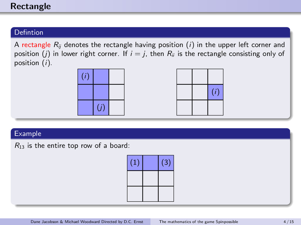Rectangle Defintion A rectangle Rij denotes the ...