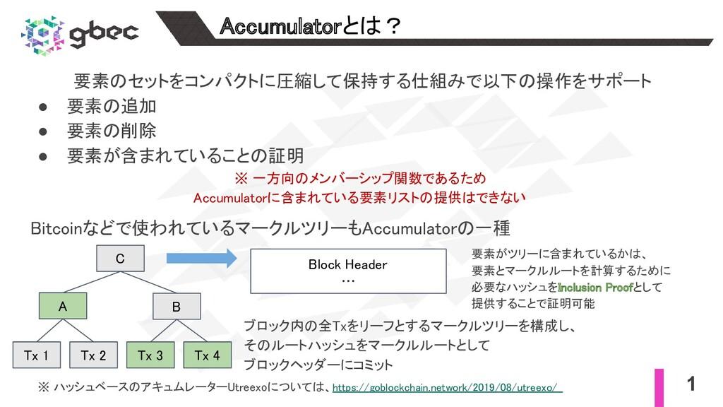 1 Accumulatorとは? 要素のセットをコンパクトに圧縮して保持する仕組みで以下の操...