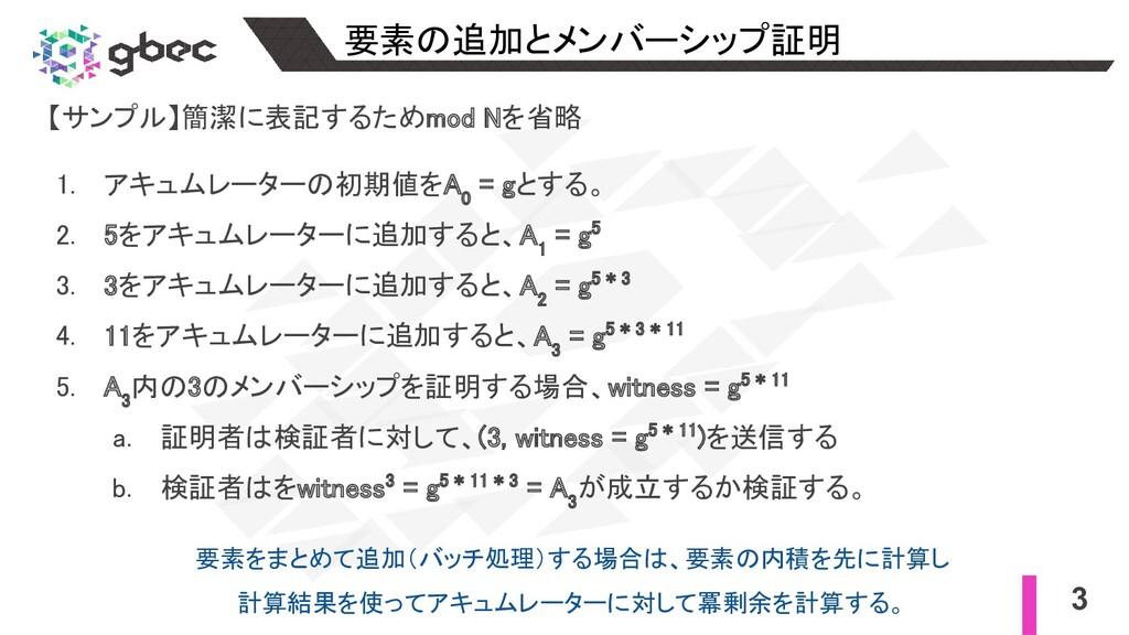 3 要素の追加とメンバーシップ証明 【サンプル】簡潔に表記するためmod Nを省略  1...