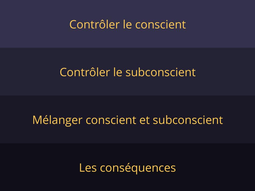 Contrôler le conscient Contrôler le subconscien...