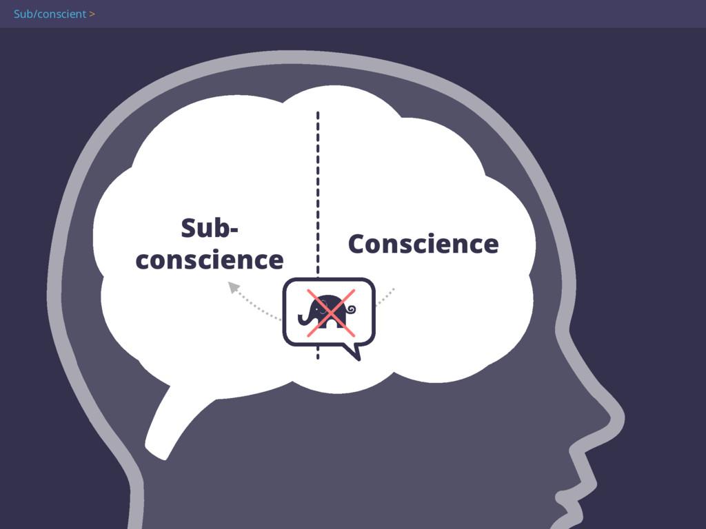 Sub- conscience Conscience Sub/conscient >