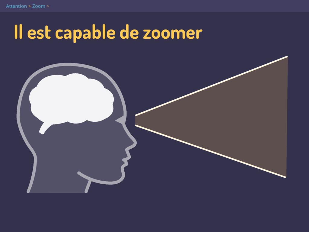 Il est capable de zoomer Attention > Zoom >