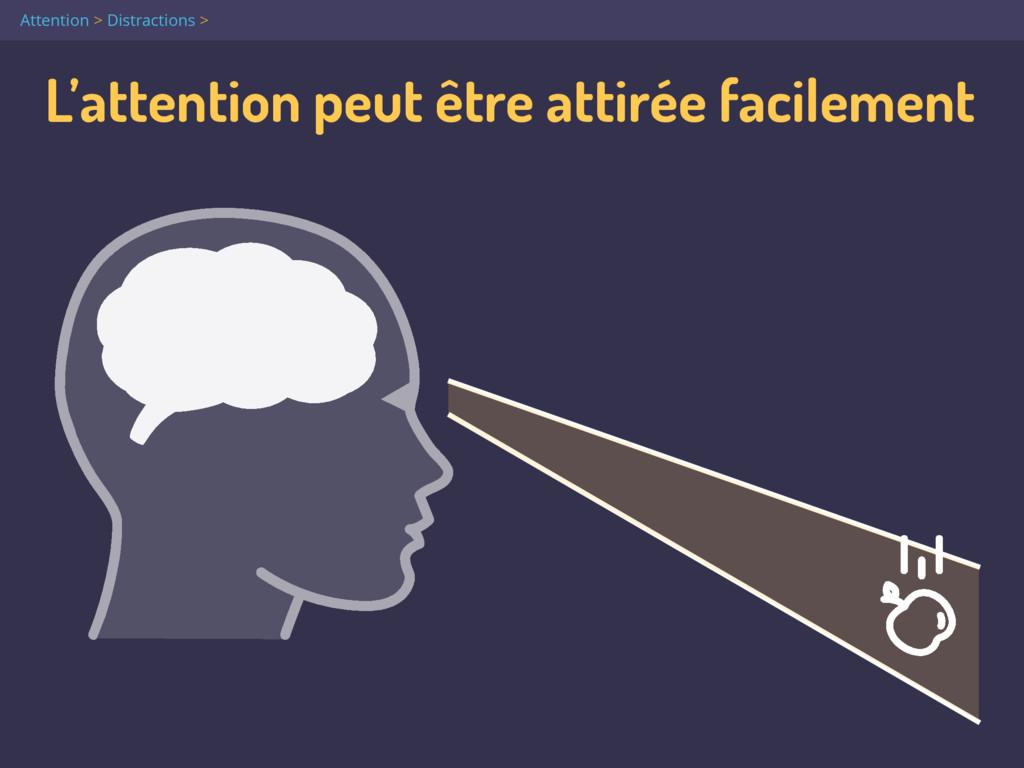 L'attention peut être attirée facilement Attent...