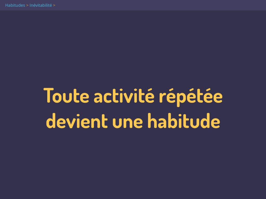 Toute activité répétée  devient une habitude H...