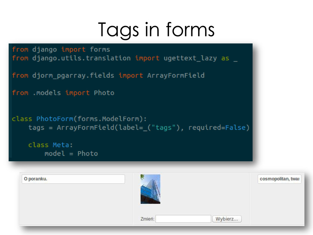 Tags in forms