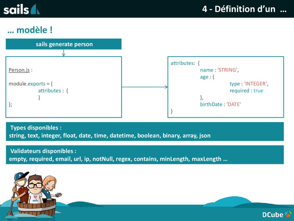 4 - Définition d'un … … modèle ! sails generate...