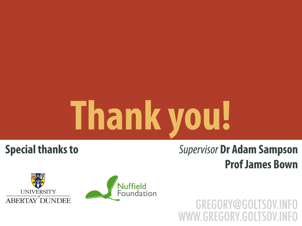 Thank you! Special thanks to Supervisor Dr Adam...