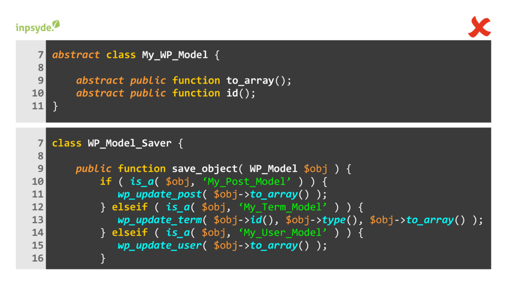 class { WP_Model_Saver save_object( WP_Model ) ...