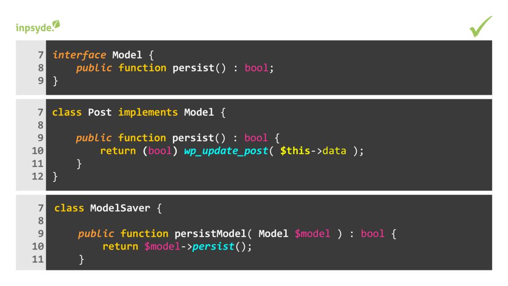 class implements { Post Model persist() : { pub...
