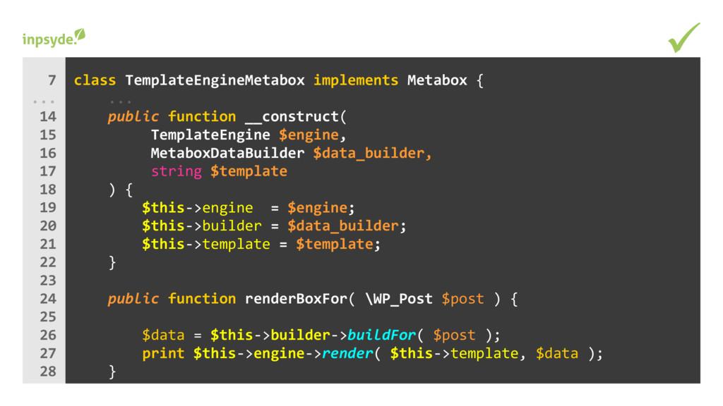 class implements TemplateEngineMetabox Metabox ...