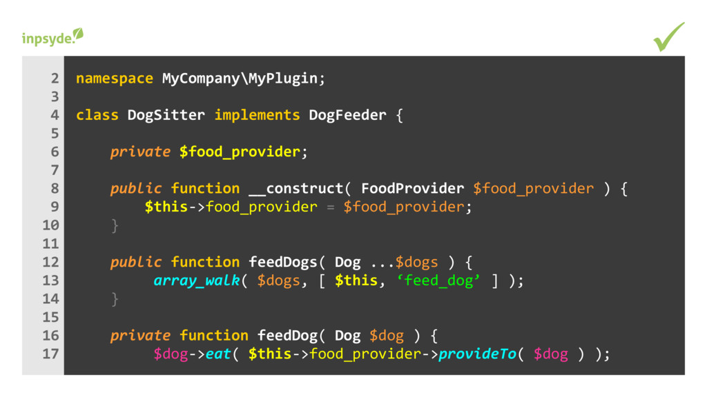 namespace MyCompany\MyPlugin; class implements ...