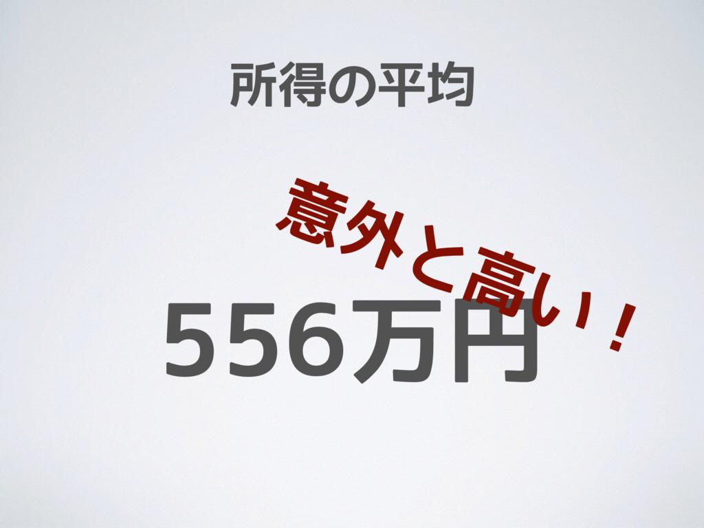 所得の平均 556万円 意外と高い!