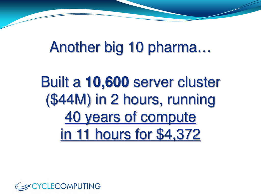 Another big 10 pharma… Built a 10,600 server cl...