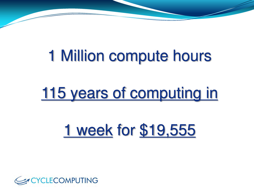 1 Million compute hours 115 years of computing ...