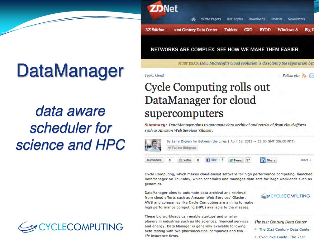 DataManager data aware scheduler for science an...