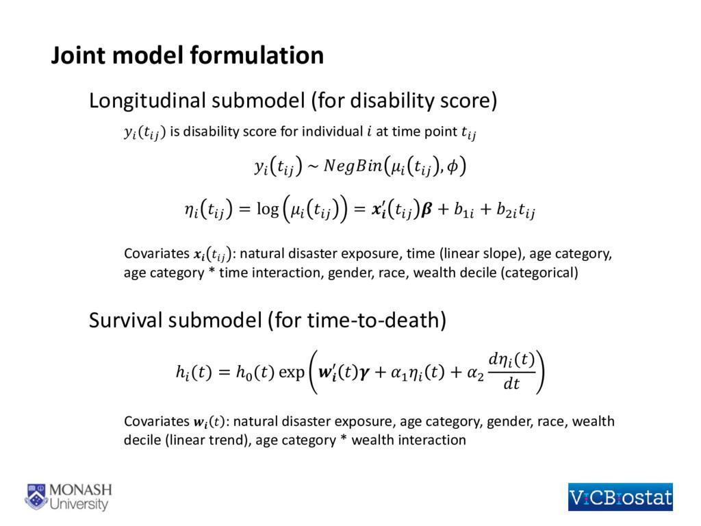 Longitudinal submodel (for disability score)  (...
