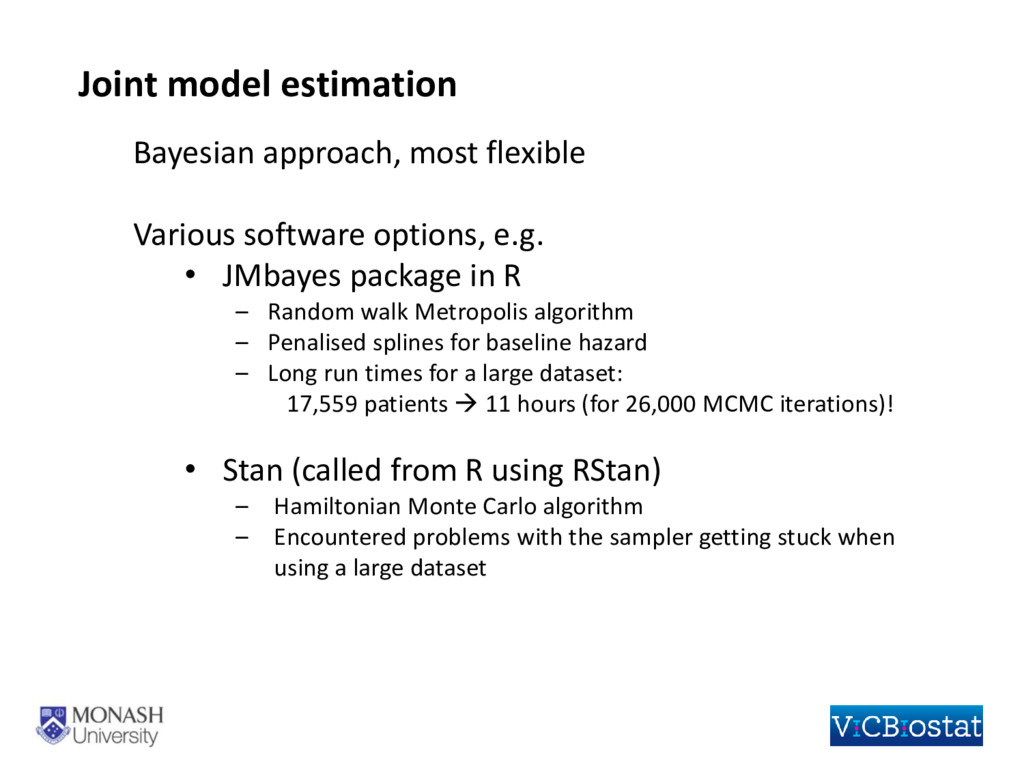 Joint model estimation Bayesian approach, most ...