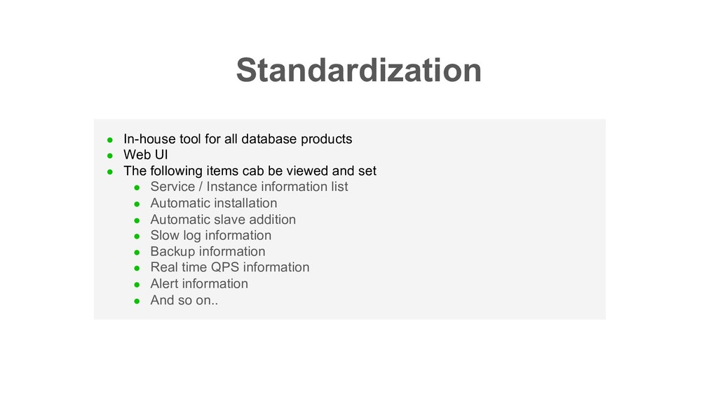 l In-house tool for all database products l Web...