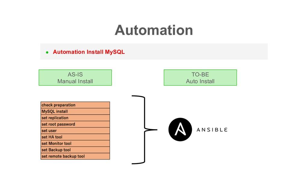l Automation Install MySQL AS-IS Manual Install...