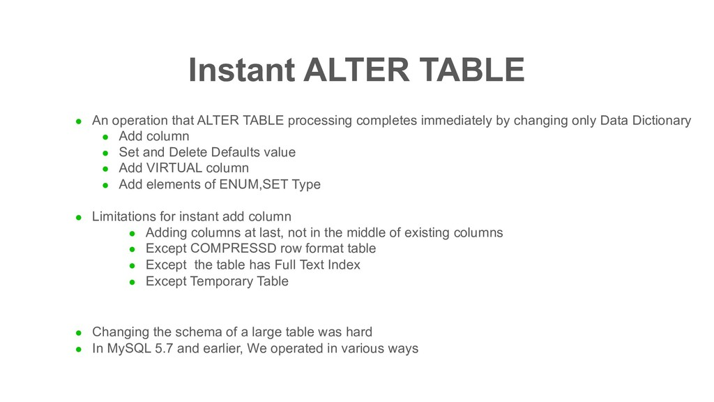 Instant ALTER TABLE l An operation that ALTER T...