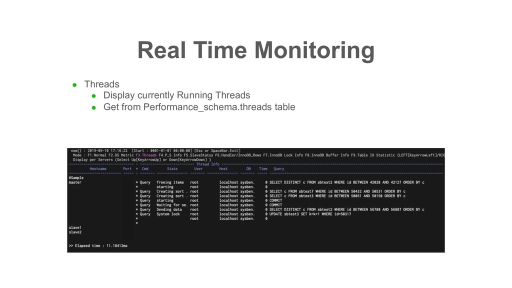 Real Time Monitoring l Threads l Display curren...