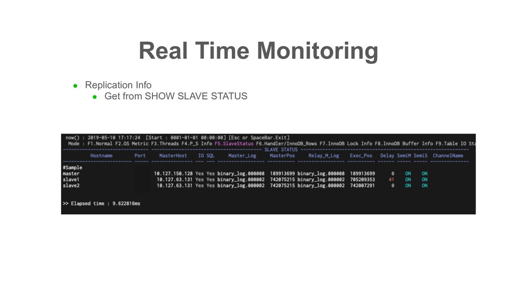 Real Time Monitoring l Replication Info l Get f...