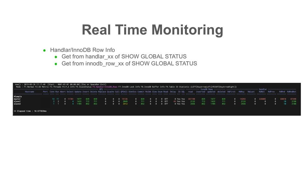 Real Time Monitoring l Handlar/InnoDB Row Info ...