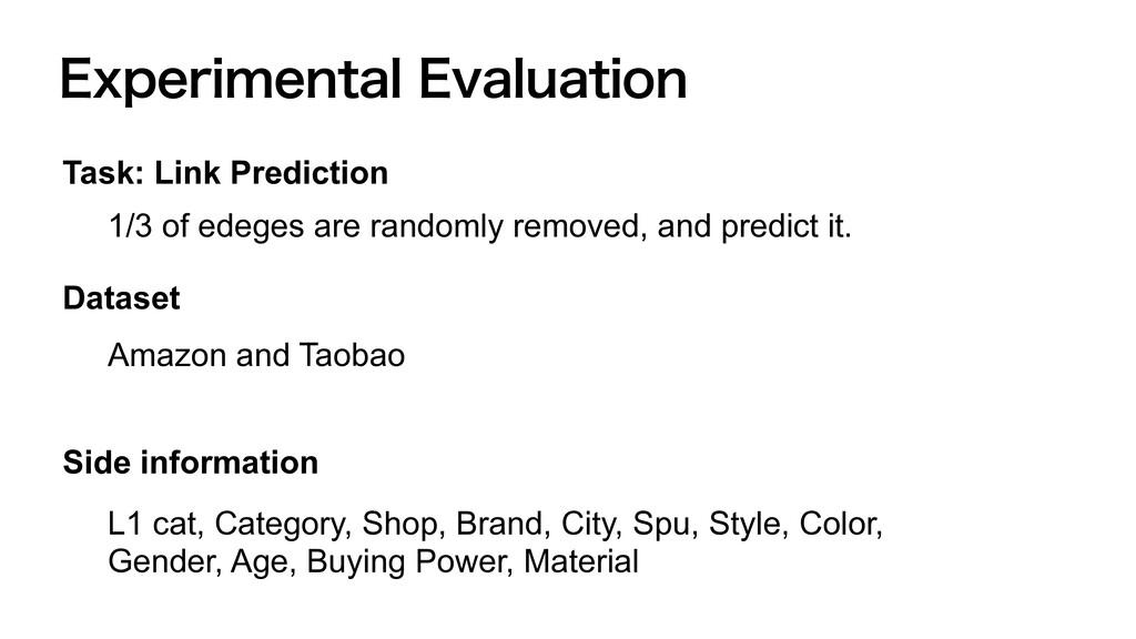 &YQFSJNFOUBM&WBMVBUJPO Task: Link Prediction 1...